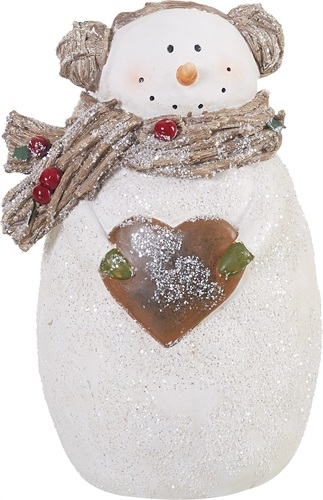 "Decorative Figurine - ""Rustic Glitter Snowman"" - 7.5"""