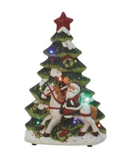 "Decorative Figurine - ""Santa With Christmas Tree"""