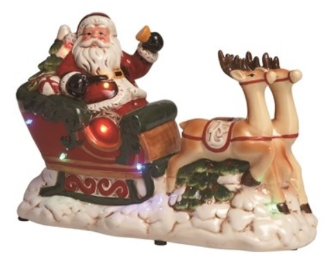 "Decorative Figurine - ""Santa With Sleigh - Lighted and Musical"""