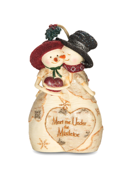 "Decorative Figurine - ""Snowman Couple - Meet Me Under The Mistletoe"""