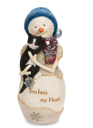 "Decorative Figurine - ""Snowman Holding Cat"""