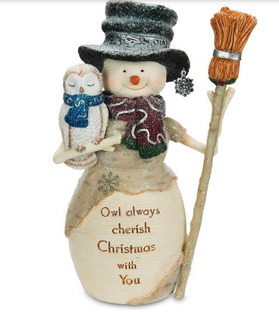 "Decorative Figurine - ""Snowman Holding Owl"""