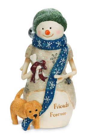 "Decorative Figurine - ""Snowman With A Puppy"""