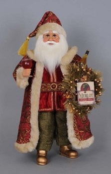 Karen Didion Santa - 18in - Wine Santa with Lighted Wreath
