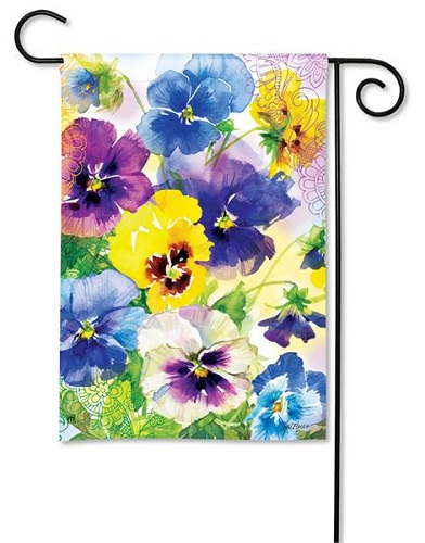 "Decorative Flag - ""Mixed Pansies Garden Flag"""