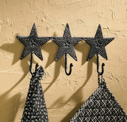 "Decorative Hook - ""Black Star Triple Hook"""