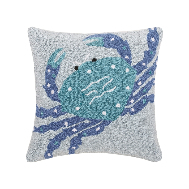Decorative Hooked Pillow - Blue Crab - 18in