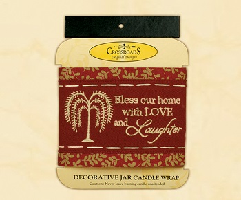 "Decorative Jar Candle Wrap - ""Bless Our Home...Candle Wrap"""