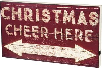 "Decorative Lighted Box Sign - ""Christmas Cheer Here... Box Sign"""