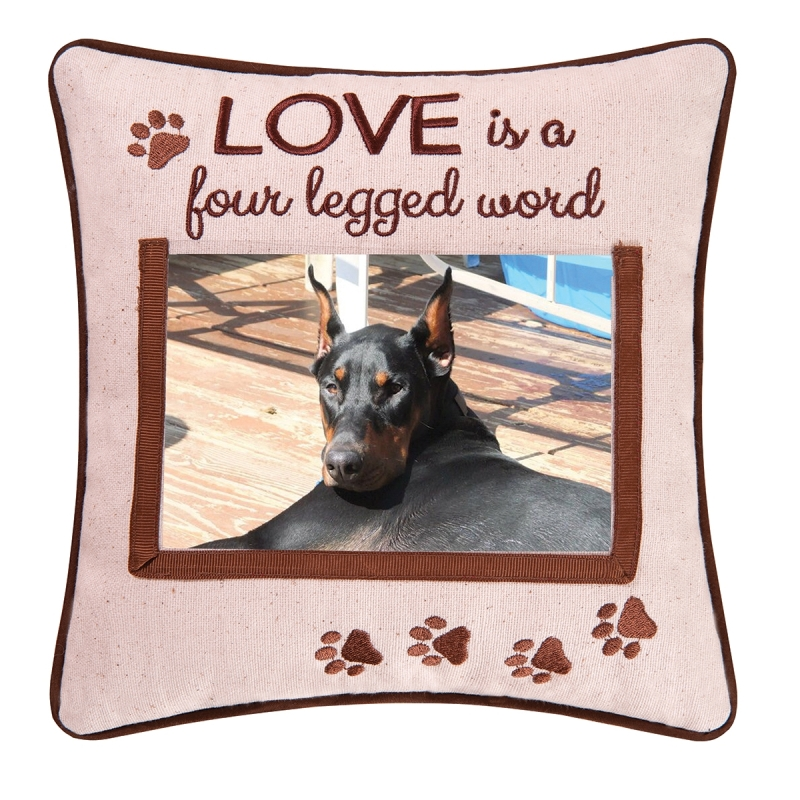 Decorative Picture Pillow - Love Is A 4 Legged Word - 10in