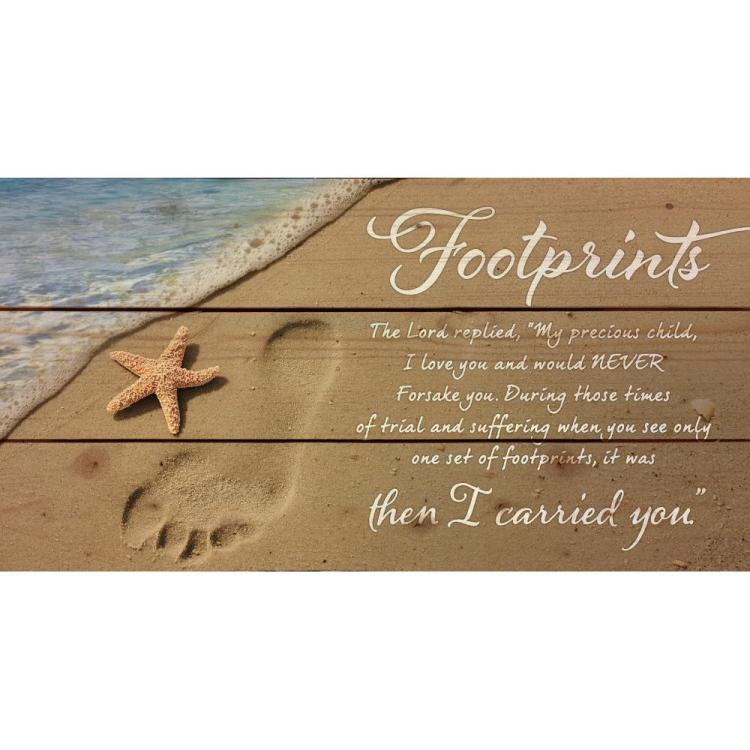 "Decorative Pine Pallet Wall Sign - ""Footprints"""