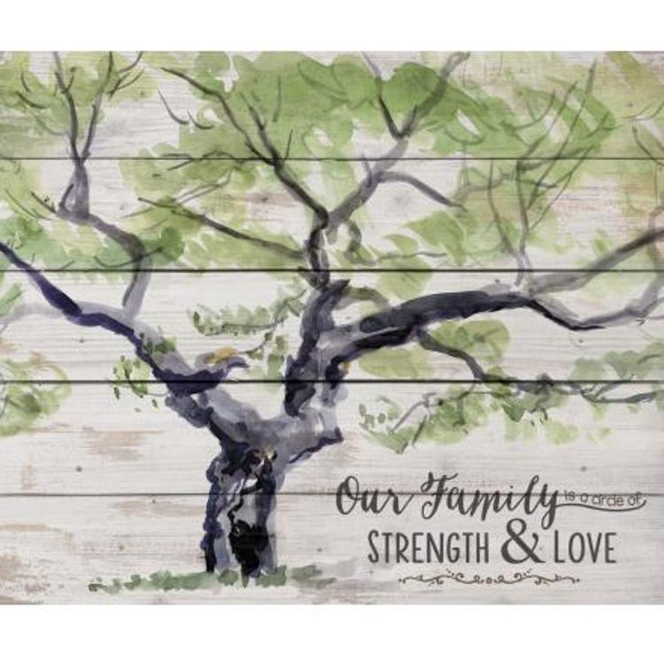 Decorative Pine Pallet Wall Sign - Our Family is a Circle - Whitewash - 21in X 17.5in
