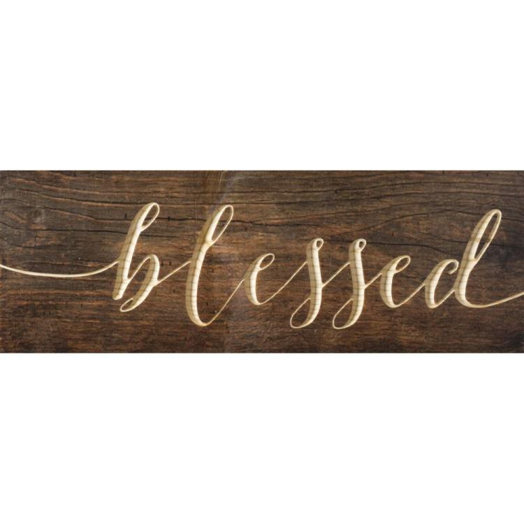 "Decorative Pine Plank Wall Sign - ""Blessed"""