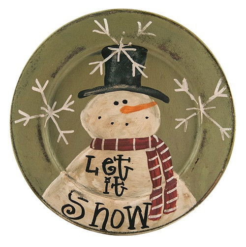 "Decorative Plate - ""Let It Snow - Snowman Plate"""