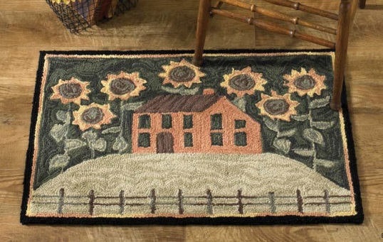 "Decorative Rug - ""House & Sunflowers Hooked Rug"""