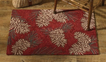 "Decorative Rug - ""Pinecone Hooked Rug"""