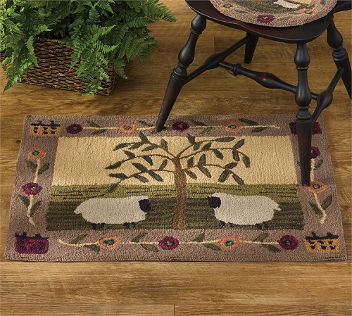 "Decorative Rug - ""Willow and Sheep Hooked Rug"""