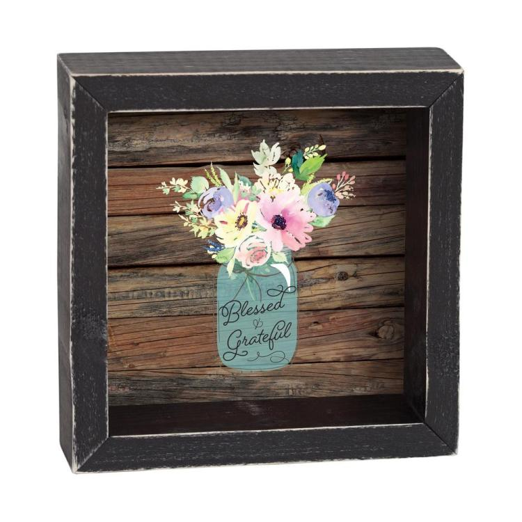 "Decorative Shadow Box Sign - ""Blessed & Grateful"""