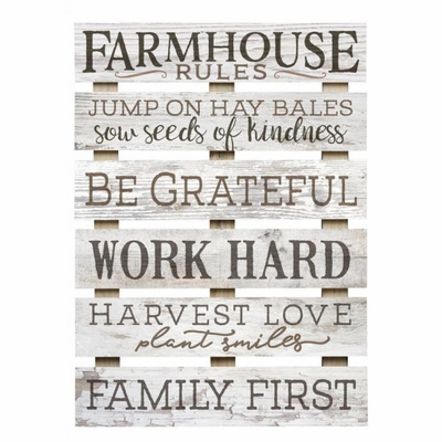 "Decorative Skid Wall Sign - ""Farmhouse Rules"""
