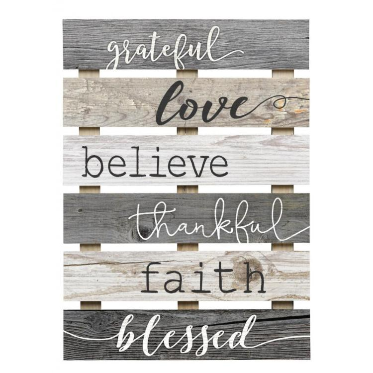 "Decorative Skid Wall Sign - ""Grateful, Love, Believe, Thankful, Faith, Blessed"""
