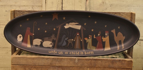 Decorative Wooden Tray - Decorative Nativity Tray