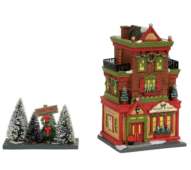 "Department 56 Christmas in the City - ""Kringle & Sons Boutique"" - Set of 2"