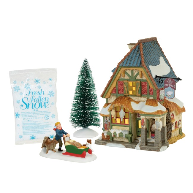 Department 56 Dickens Village - Xmas Carol Poulterers Shop Set - Set of 4
