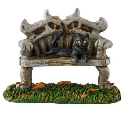 "Department 56 - Halloween Accessory -""Black Cat Bench"""