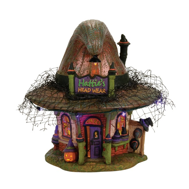 "Department 56 Halloween Village - ""Hattie's Hat Shop"""