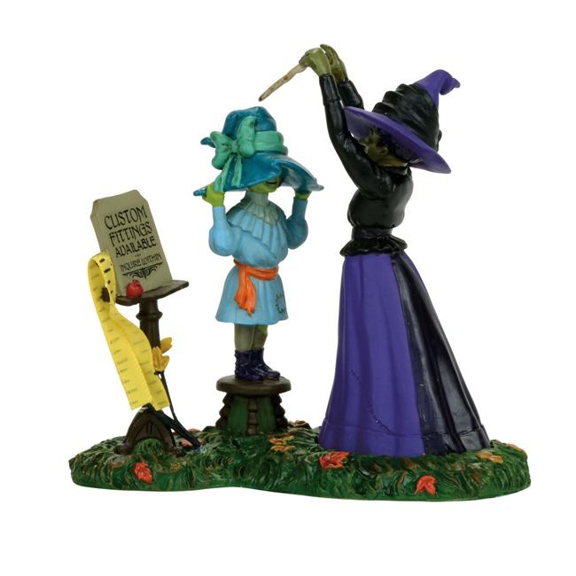 "Department 56 Halloween Village - ""Hattie's Hats Custom Fitted"""