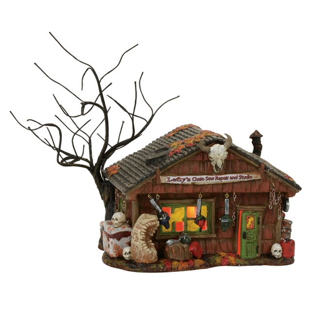 "Department 56 Halloween Village - ""Lefty's Chain Saw Repair"""