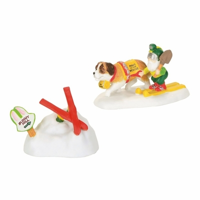 """Department 56 North Pole Accessory - """"Paws To The Rescue"""" - Set of 2"""