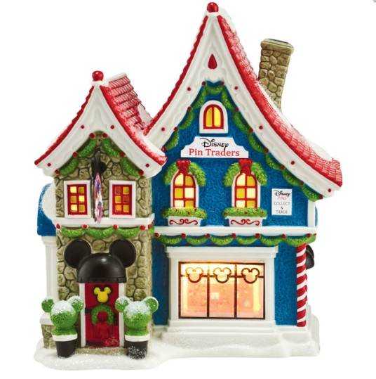 """Department 56 North Pole Village - """"Mickey's Pin Traders, W/ Pin"""""""