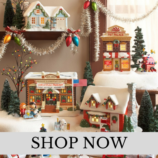 department 56 peanuts village christmas village set
