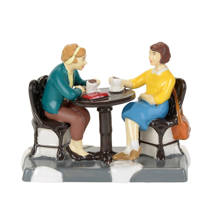 """Department 56 Snow Village Accessory- """"Coffee Station Catch Up"""""""