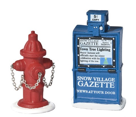 "Department 56 Snow Village Accessory  - ""Fire Hydrant & Paper Box"""