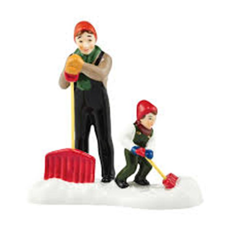 """Department 56 Snow Village Accessory - """"It Takes Two To Shovel"""""""