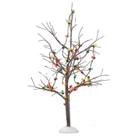 "Department 56 Snow Village Accessory - ""Lighted Christmas Bare Branch Tres"""
