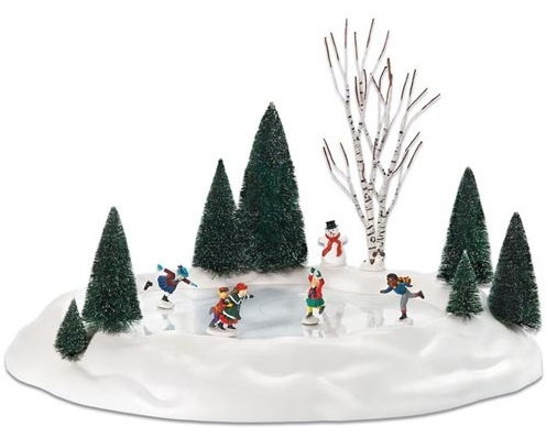 Department 56 Snow Village Accessory - New Animated Skating Pond