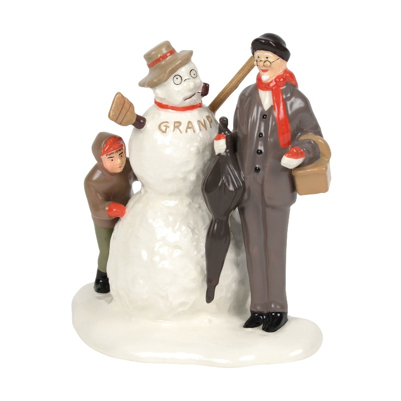 """Department 56 Snow Village Accessory- """"NR's Grandfather and Snowman"""" 2018"""