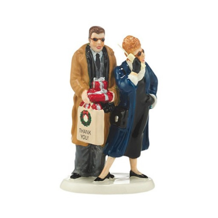 "Department 56 Snow Village Accessory - ""Shopping With Todd & Margo"""