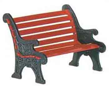 "Department 56 Snow Village Accessory - ""Village Red Wrought Iron Park Bench"""