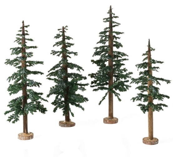 "Department 56 Snow Village Accessory - ""Winter Lodge Pines, Set of 4"""