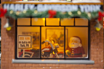 """Department 56 Snow Village - """"Harley Davidson - York, Pa."""" - Exclusive to Christmas Tree Hill"""