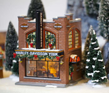 "Department 56 Snow Village  - ""Harley Davidson - York, Pa."" -  Exclusive to Christmas Tree Hill"