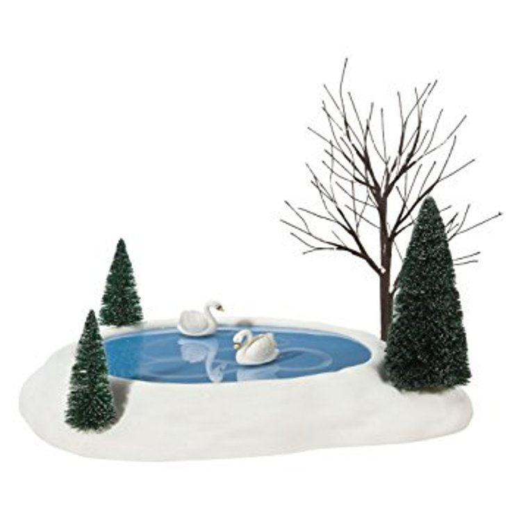 Department 56 Village Accessory - Animated Swan Pond