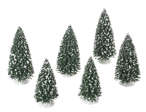 "Department 56 Village Accessory - ""Frosted Pine Grove, Set of 6"""