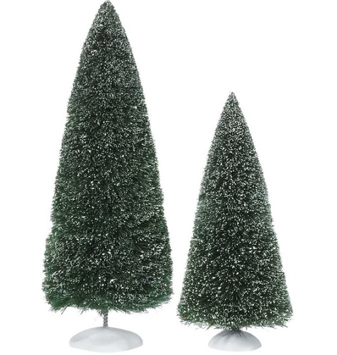 "Department 56 Village Accessory - ""Frosted Topiaries"" - Set of 2"