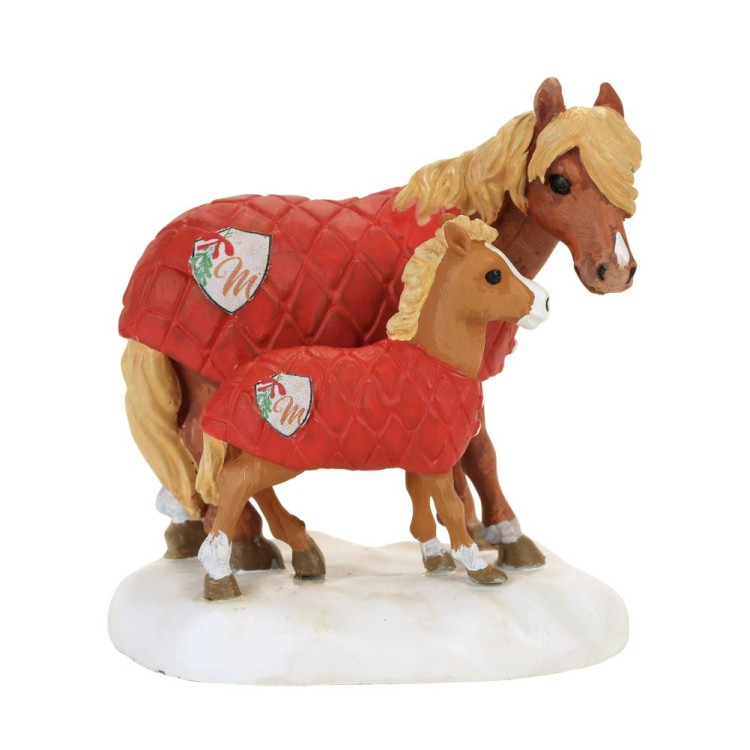 "Department 56 Village Accessory - ""Mistletoe Farm Ponies"""