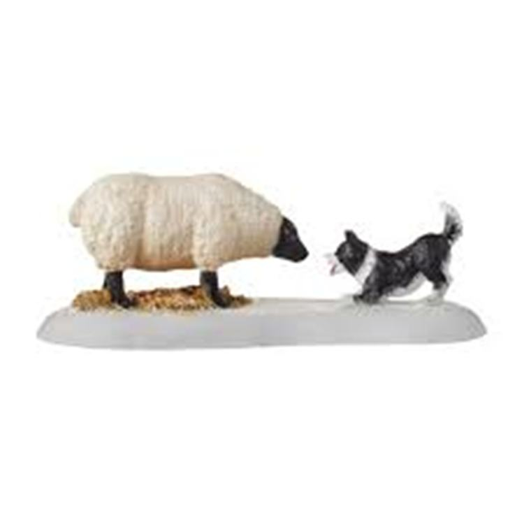 "Department 56 Village Accessory - ""Mistletoe Farm Sheepdog Fun"""